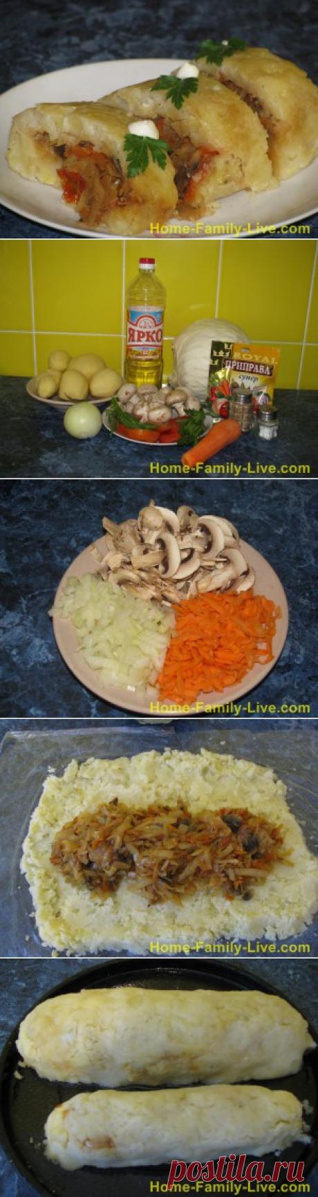 Рулет картофельный с грибами и капустой/Сайт с пошаговыми рецептами с фото для тех кто любит готовить