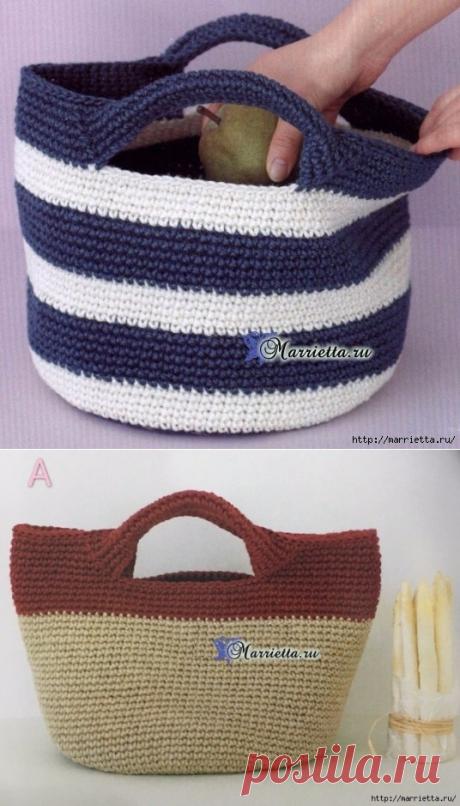 Летняя сумочка с ручками. Схема вязания крючком.