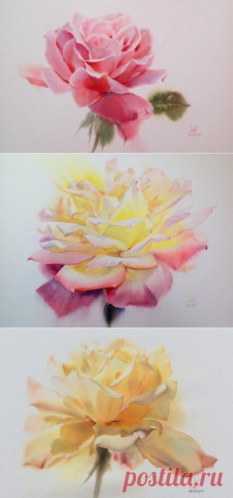 Акварельные розы тайского художника ЛаФе