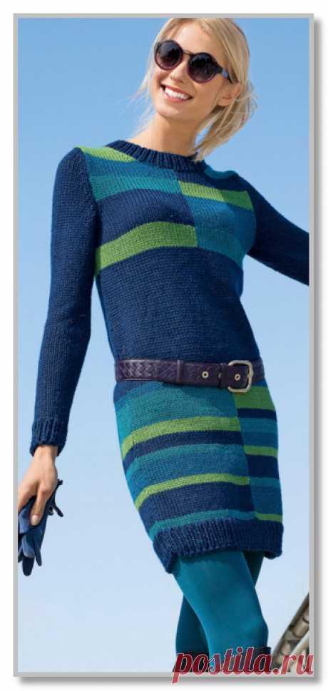 Вязание спицами. Описание женской модели со схемой и выкройкой. Прямое платье с цветным геометрическим рисунком. Размеры: 36/38 (40/42) 44/46
