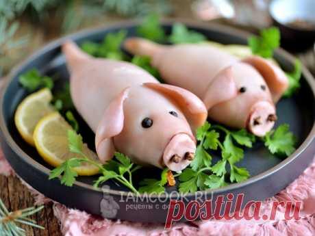 Фаршированные кальмары «Свинки» — рецепт с фото Оригинальная закуска на Новый год Свиньи 2019 - фаршированные кальмары в виде свинок.