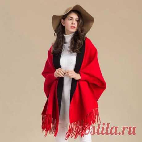 Пончо зимнее с рукавами, утолщенное, из пашмины|Женские шарфы|
