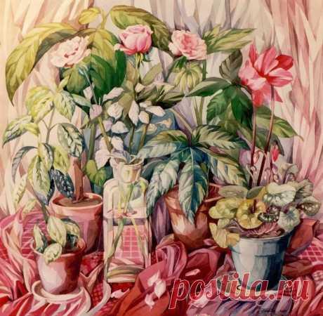 La mariposa, que se ha perdido en las rosas.... El Pintor Gorneva Galina.