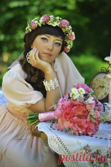 """Купить Кружевной браслет """"Очарование"""" (экрю) - бежевый, агат, кружево, свадебные украшения, свадебный браслет"""