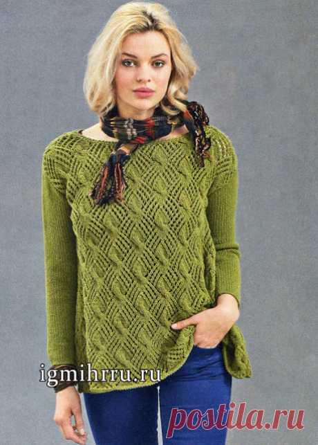 Пуловер с А - силуэтом спицами