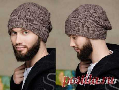 Мужская шапка спицами из лицевых и изнаночных петель
