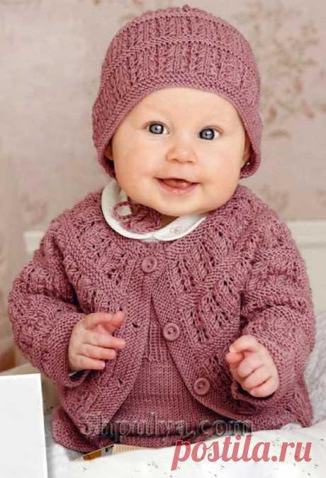 Вязаный комплект для малышки: кардиган, комбинезон и шапочка спицами - SHPULYA.com