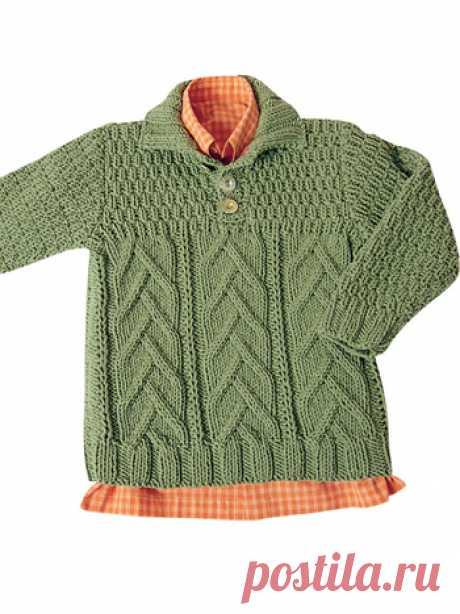 спортивный пуловер с воротником поло и с роскошными косами внизу, переходящими в рельефный узор