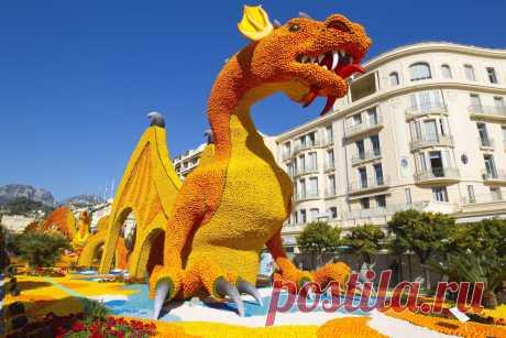 Фестиваль лимонов во Франции Каждый год во время Фестиваля лимонов весь город Ментон во Франции украшается скульптурами мультипликационных героев, динозавров, всемирно известных достопримечательностей и другими удивительными конструкциями – и всё из лимонов! …