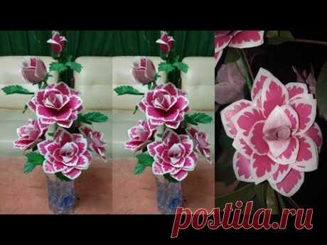 Как сделать розу из полиэтиленового пакета | Цветы ручной работы из полиэтиленовых пакетов