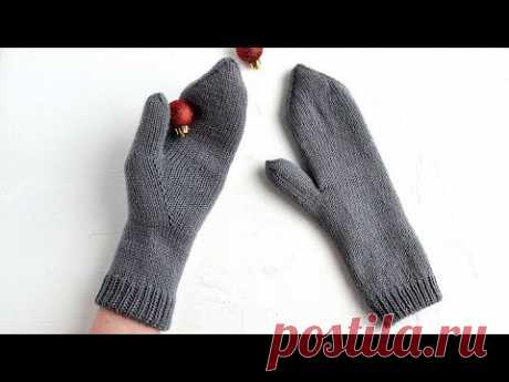 Двойные варежки с индийским клином. Вязание спицами. Knitting Mittens. Tutorial