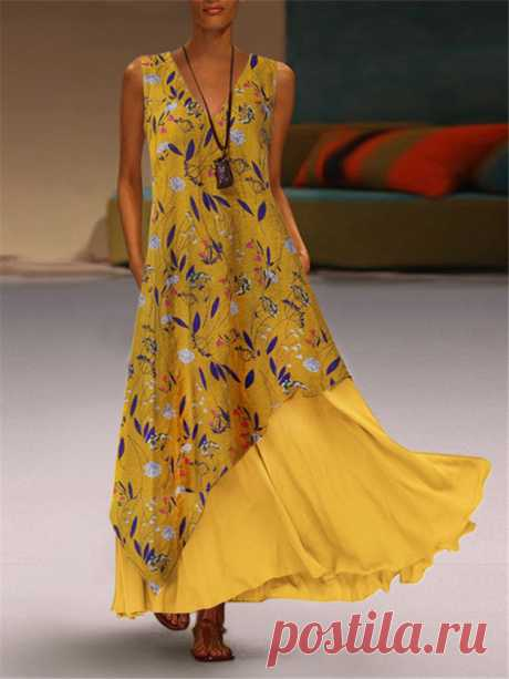 Print Bohemian Maxi Patch Sleeveless V Neck Dress Your friend shared a fashion website for you and give you $60 coupons! Claim it now.