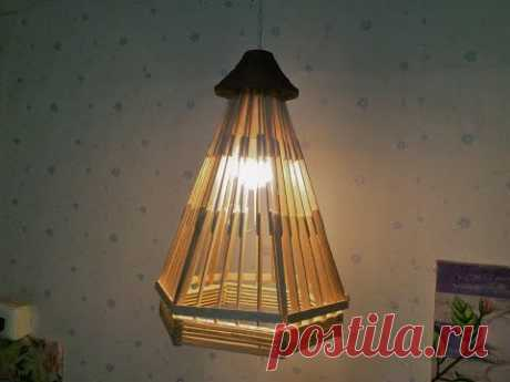D.I.Y. Lamp made from popsicle sticks