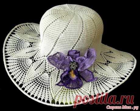 Белая шляпка крючком