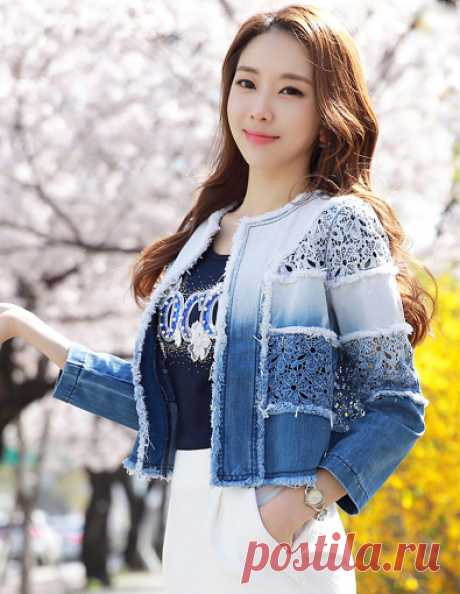 Gradient Lace Embrodiery Denim Jacket Korean Women's Fashion Shopping Mall, Styleonme. N