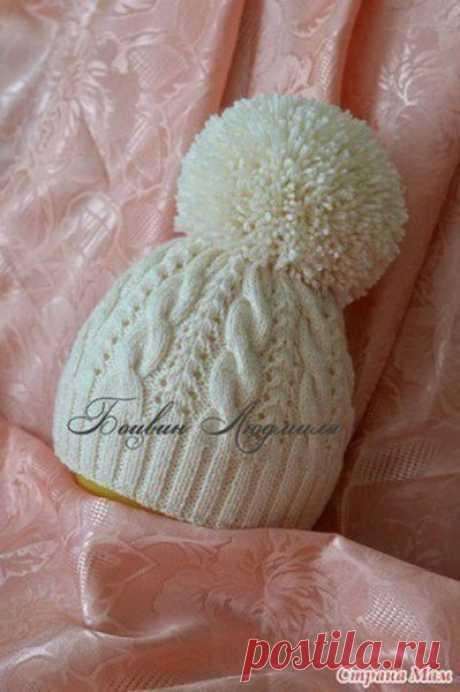 Двойная шапочка с помпоном (Вязание спицами) — Журнал Вдохновение Рукодельницы