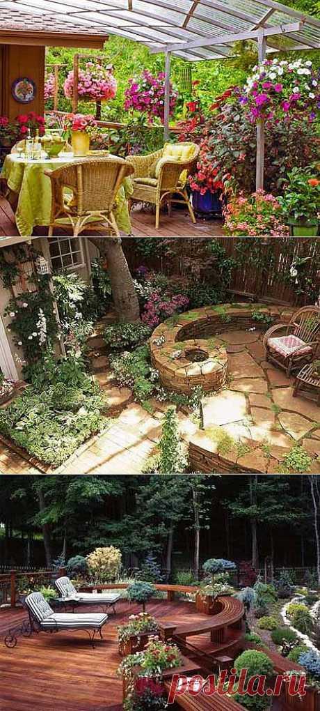 El diseño de la parte de campo: patio en el jardín