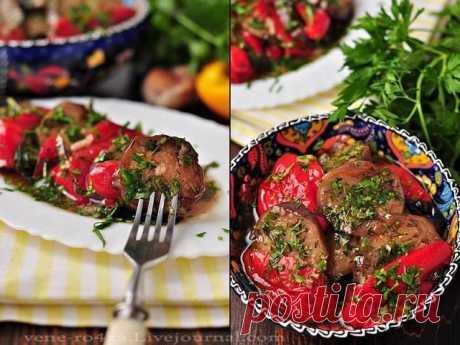 Чумовая остренькая закуска из маринованных баклажанов перцев-гриль