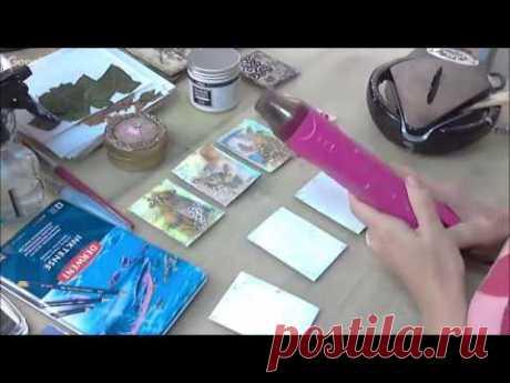 Создаем КАРТОЧКИ ДЛЯ ОБМЕНА С ВОСКОВЫМ МЕДИУМОМ | видео МК по микс медиа энкаустике Натальи Жуковой