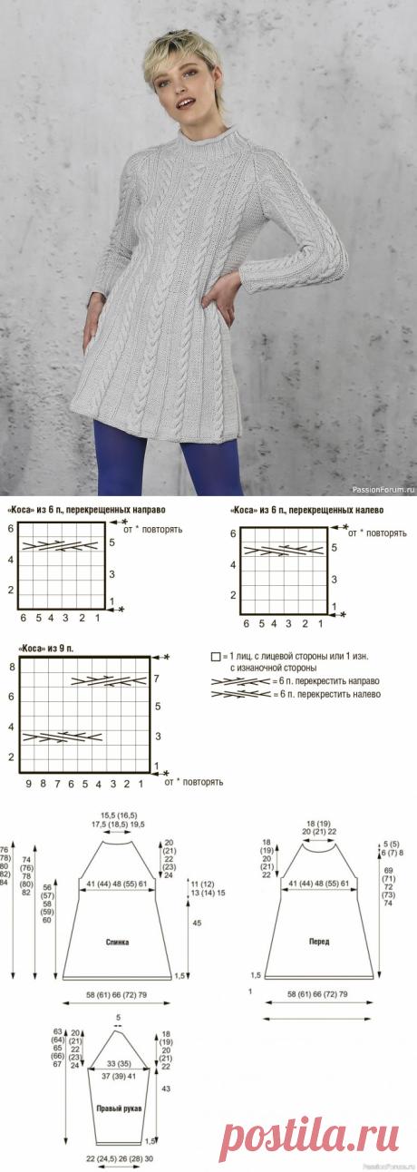 Вертикальный узор из кос в этом коротком платье визуально вытягивает фигуру. | Вязание для женщин спицами. Схемы вязания спицами