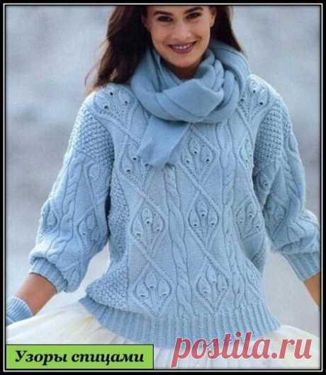 Простой, красивый узор для пуловера или свитера