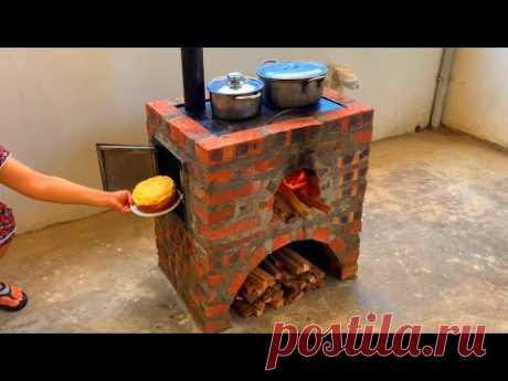 Дровяная печь три в одном / Креативные идеи из цемента и кирпича