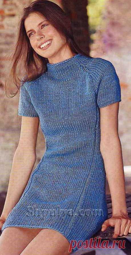 Мини-платье с вытачками, вязаное спицами - SHPULYA.com