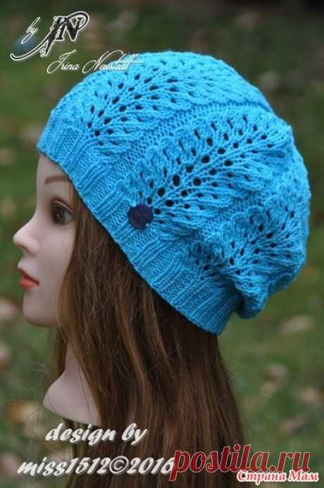 """""""Павлинье перо"""" - шапочка спицами для юной модницы. Мой дизайн! Схема + краткое описание"""