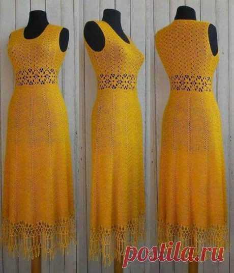 Желтое ажурное платье вязаное крючком 2, на 500 г пряжи.