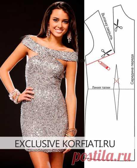 Выкройка платья с пайетками от Анастасии Корфиати Платье с пайетками никогда не выйдет из моды. Оригинальный крой, широкая бретель и ультрамодная длина создали настоящий хит! Выкройка платья с пайетками
