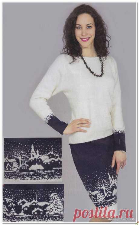 Костюм с зимним пейзажем спицами (пуловер и юбка)