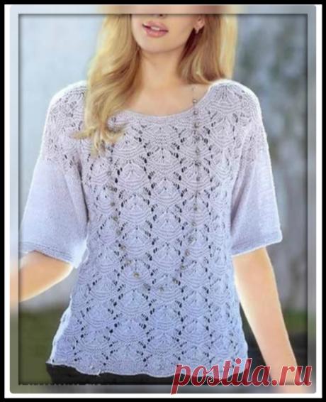 Нежная летняя кофточка с интересным ажурным узором - модель из модного японского журнала!