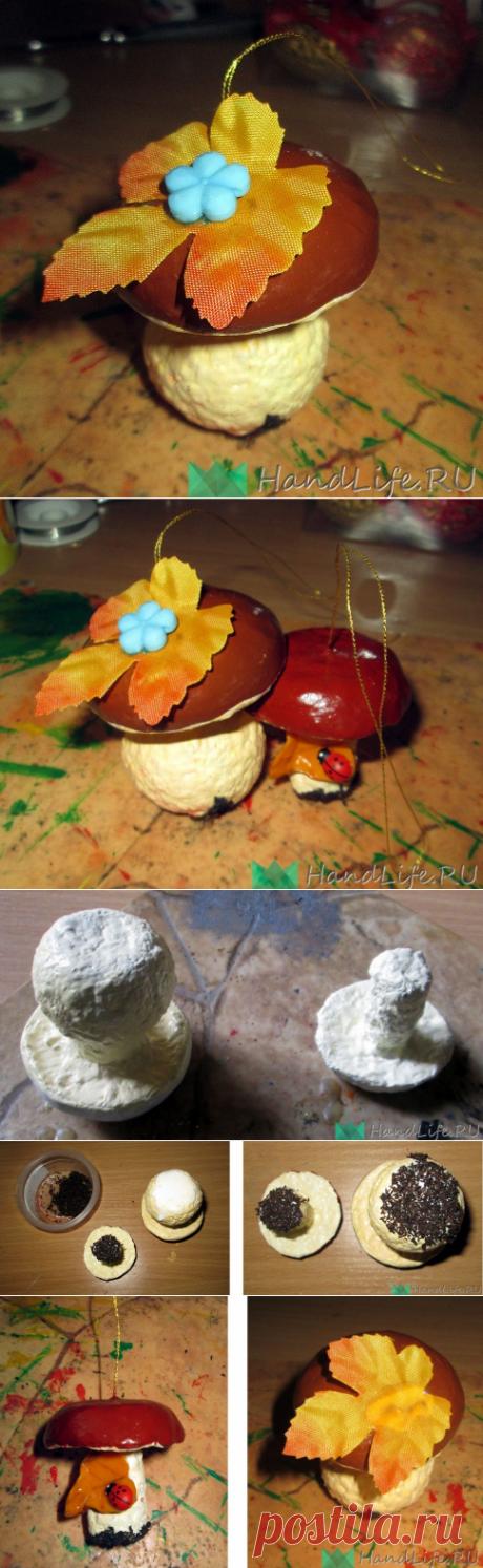 МК гриб из папье-маше / Новый год!