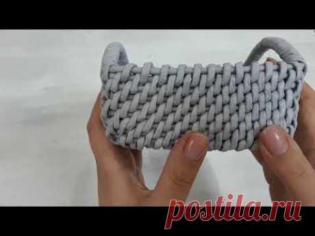 Квадратный короб с ручками / Корневое плетение