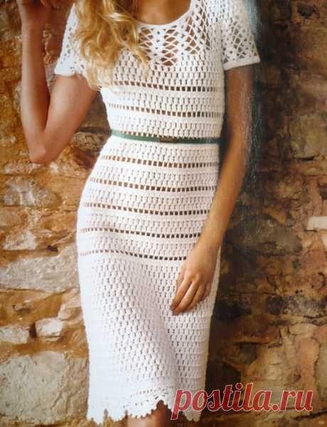 Белое платье узором пышные столбики. Платье красивым узором со схемами | Домоводство для всей семьи.