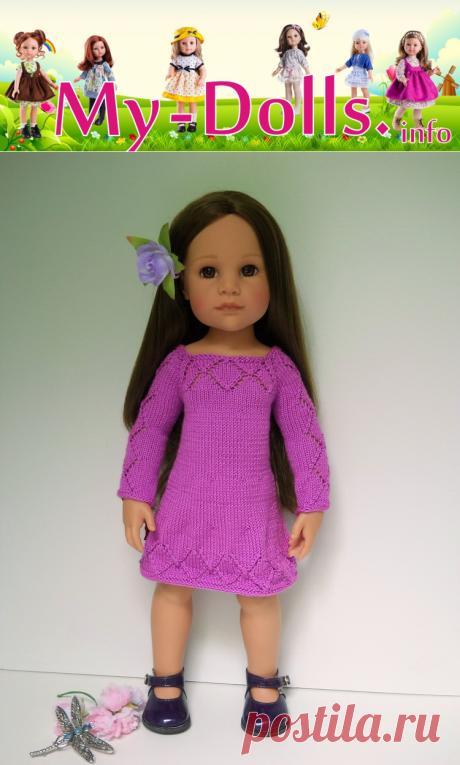 Платье с ромбами для кукол Gotz - мастер-класс по вязанию от Ольги Портновой