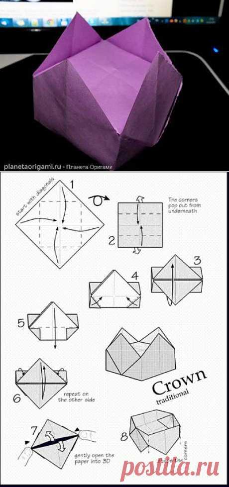 El origami la corona por el esquema tradicional para el niño