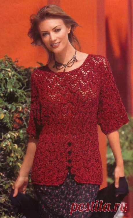 Красно-оранжевый меланжевый пуловер со шлицами