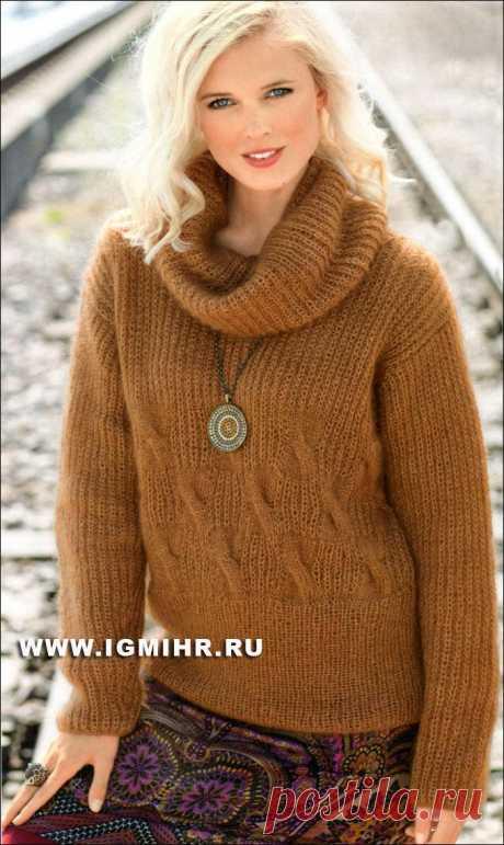 Легкий, мягкий и теплый пуловер из полупатентного узора и кос. Спицы.
