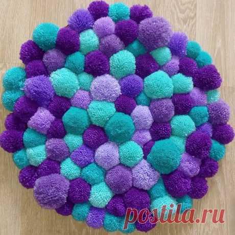 Идеи ковриков из помпонов — Сделай сам, идеи для творчества - DIY Ideas
