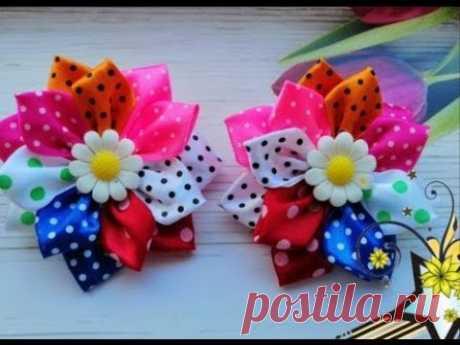 Простые разноцветные бантики из атласных лент МК Канзаши / Simple colorful bows of ribbons
