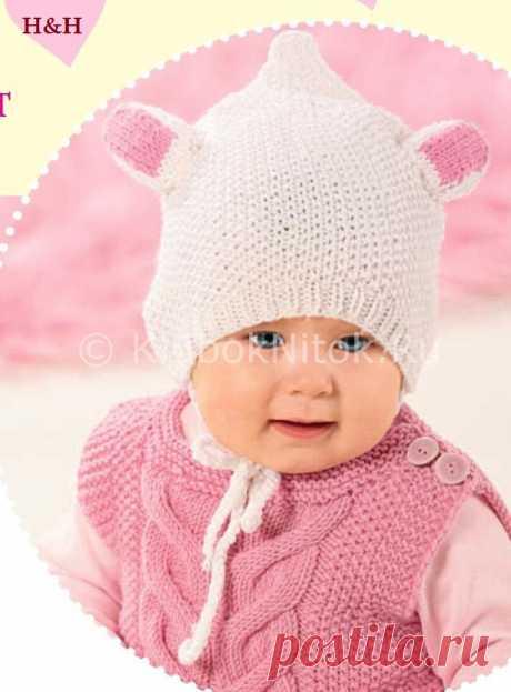 Шапочка «Овечка» | Вязание для девочек | Вязание спицами и крючком. Схемы вязания.