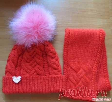 Комплект со сложной косой - Вязание для детей - Страна Мам