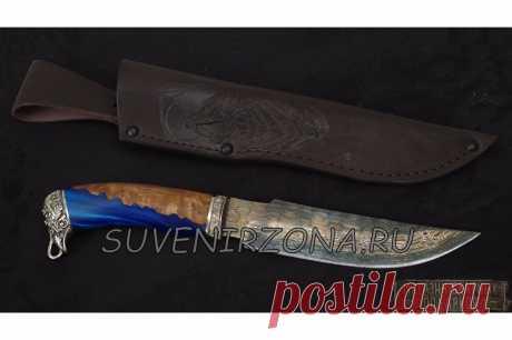 Купить кованый подарочный нож «Турист» ламинированный дамаск