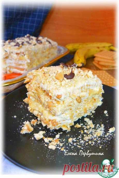 Торт творожно-банановый без выпечки