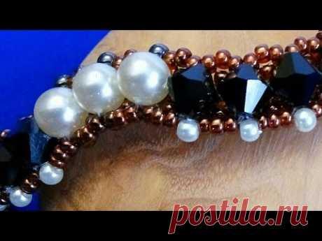 Шикарный браслет из бисера и биконусов. Chic beaded bracelet.سوار مطرز أنيق