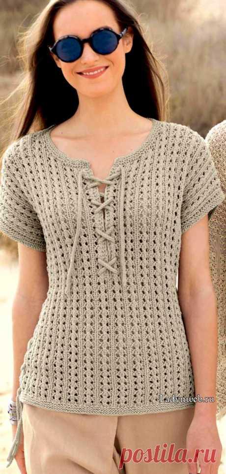Пуловер ажурным узором без рукавов спицами   Ladynweb.ru