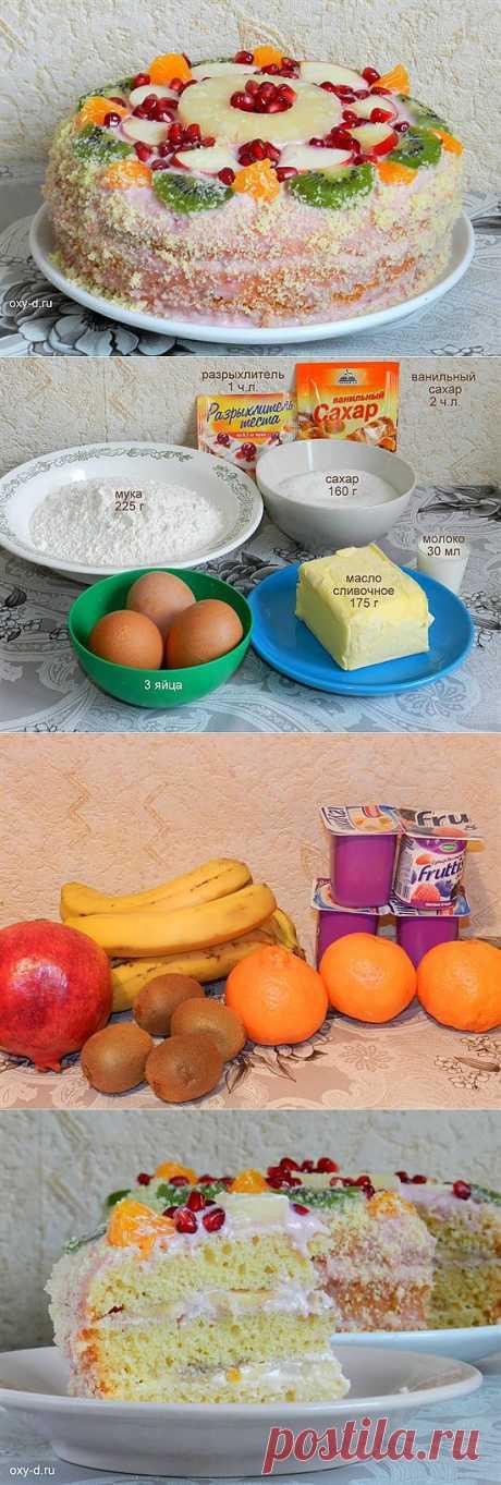 Фруктовый торт с йогуртом в мультиварке | Просто Вкусно