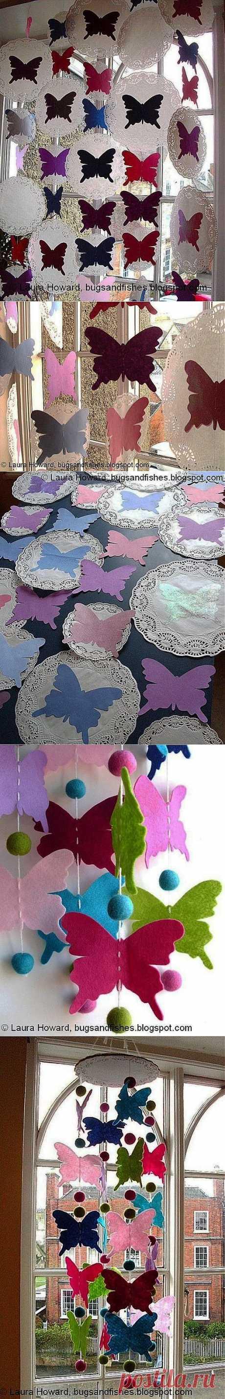Los artículos por las manos - Adornamos el interior con las mariposas del fieltro