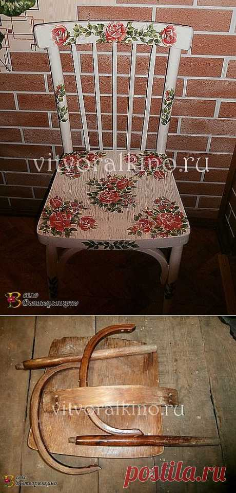 Restoration of a chair in equipment a decoupage.